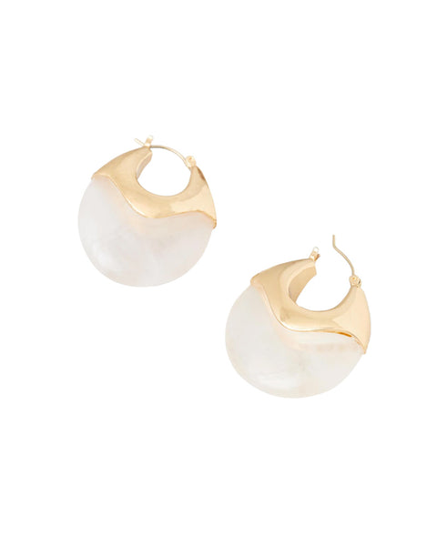 Laini Resin Disc Earrings with Metal
