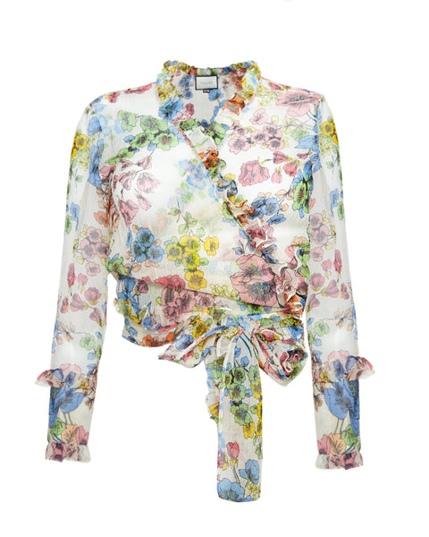 Missie Wrap Top in Eden Floral