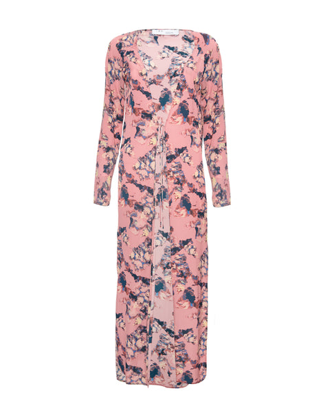 Adorable Crepe De Chine Robe Pink
