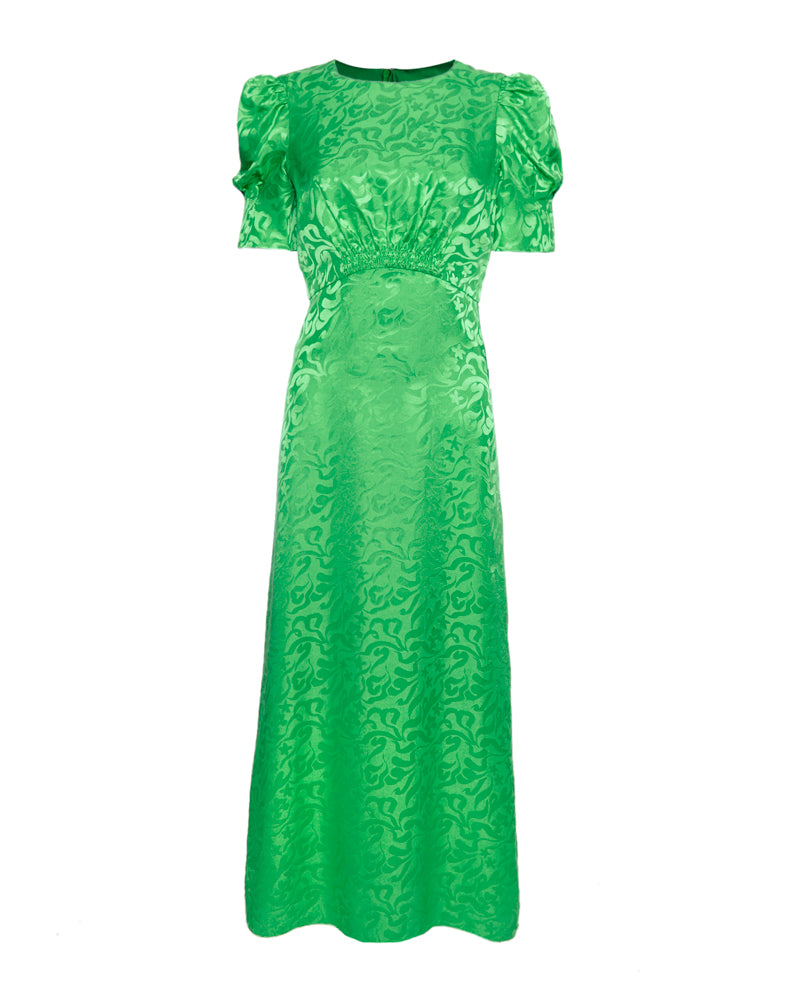 Bianca Silk Jacquard Midi Dress Leaf Green