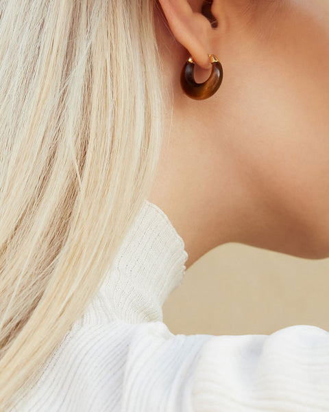 Dorthea Stone Hoop Earring- EXTRA 10% OFF AT CHECKOUT