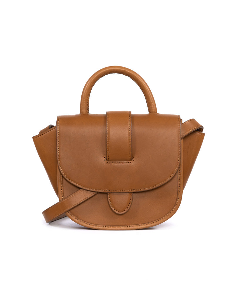 Giselle Belt Detail Top Handle Crossbody Bag in Cognac