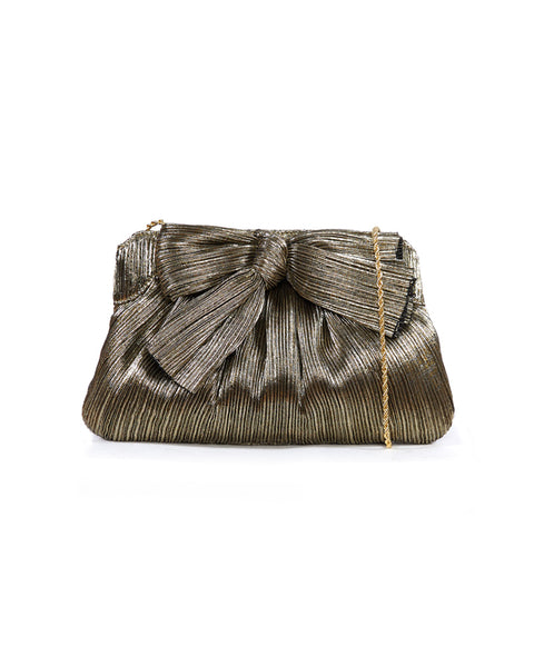 Rayne Pleated Frame Clutch with Bow