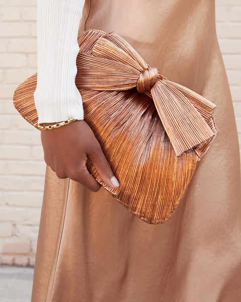 Rayne Pleated Frame Clutch with Bow in Rose Gold