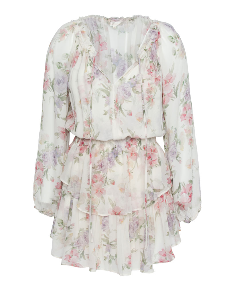 Popover Tiered Floral Silk Mini Dress
