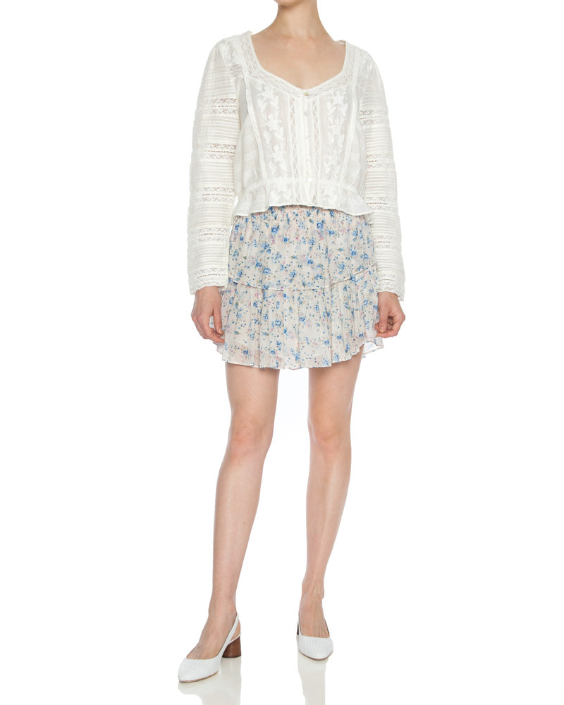 Ruffle Silk Floral Mini Skirt in Pearl River