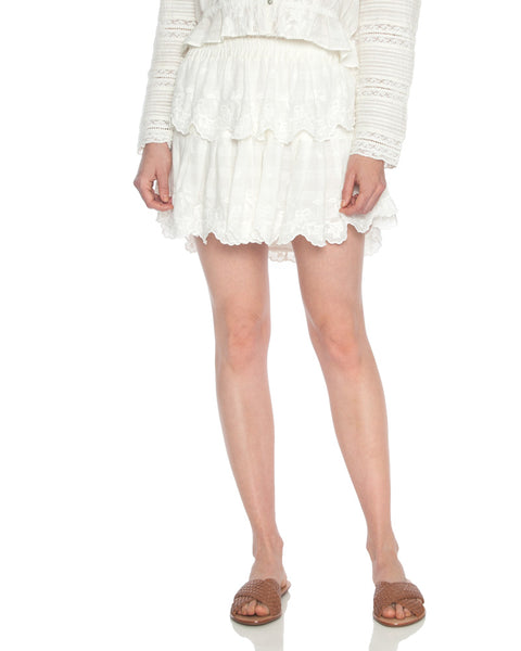 Ruffle Embroidered Mini Skirt
