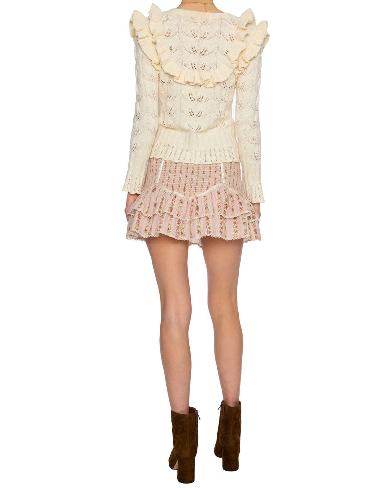 Warren Ruffle Cardigan in Cream