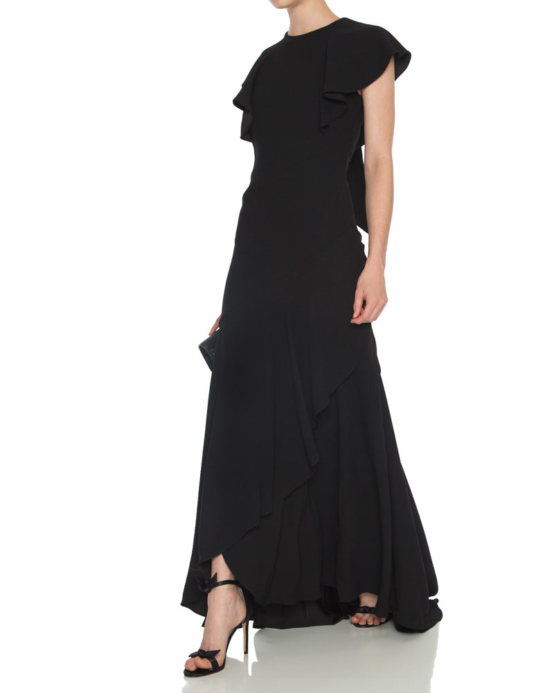 Flutter Sleeve Crepe Gown with Open Back and Ruffle Detail