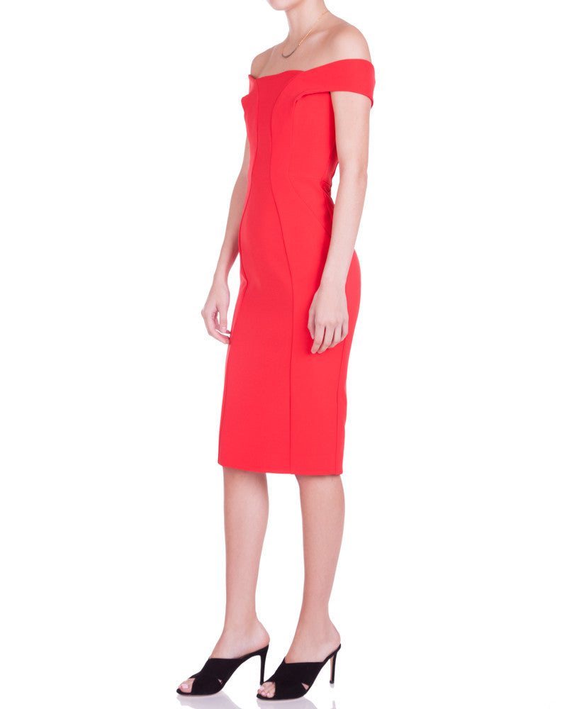 Tech Bonded Curve Panel Dress