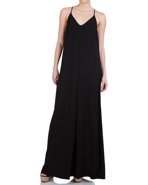 Maxi Slip Dress-Black