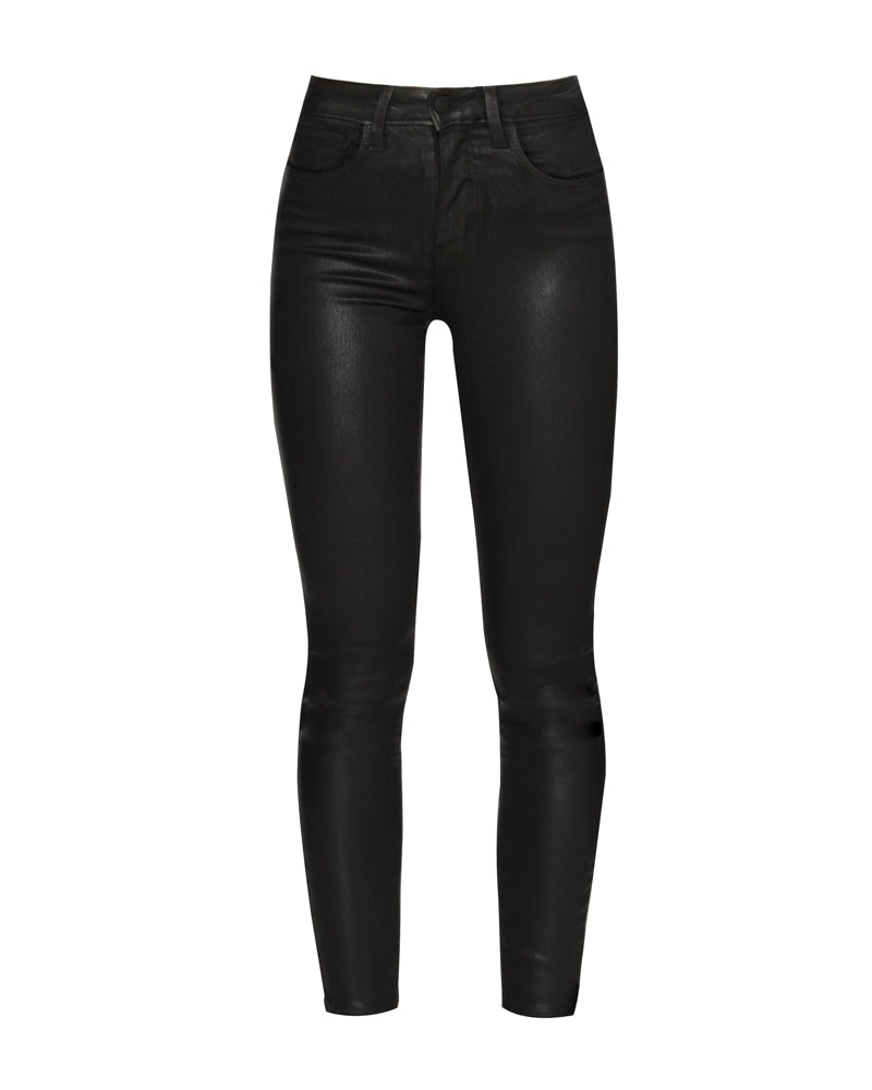 Margot High Rise Skinny Jean in Black Coated