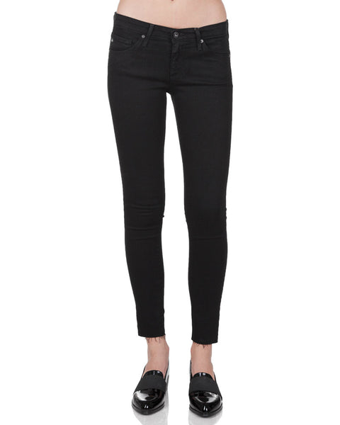 The Legging Ankle Super Skinny Raw Hem Jean in Black Ink