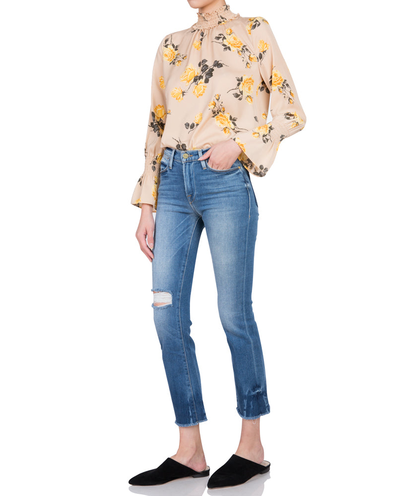 High Neck Flare Sleeve Top