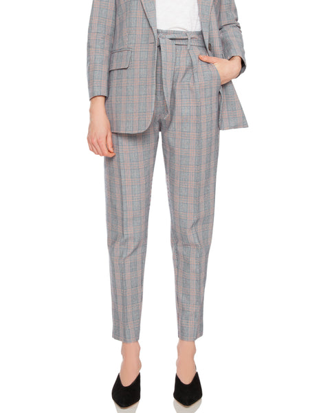 Marcelle Plaid Tie Waist Trouser