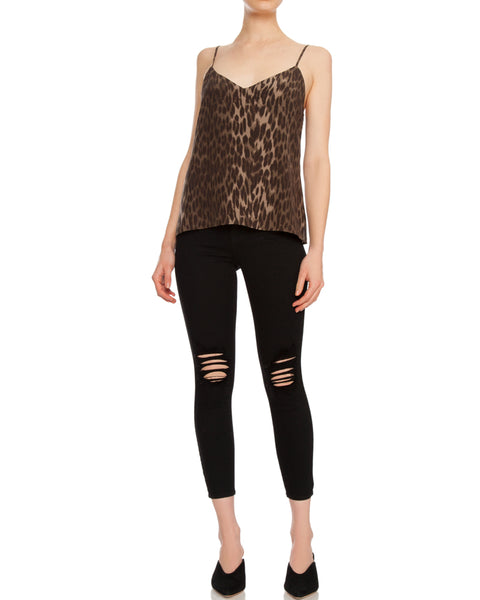 Jane Spaghetti Strap Top in Dark Olive Leopard Print