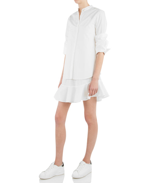 Long Sleeve 2 In 1 Shirtdress With Ruffle Skirt