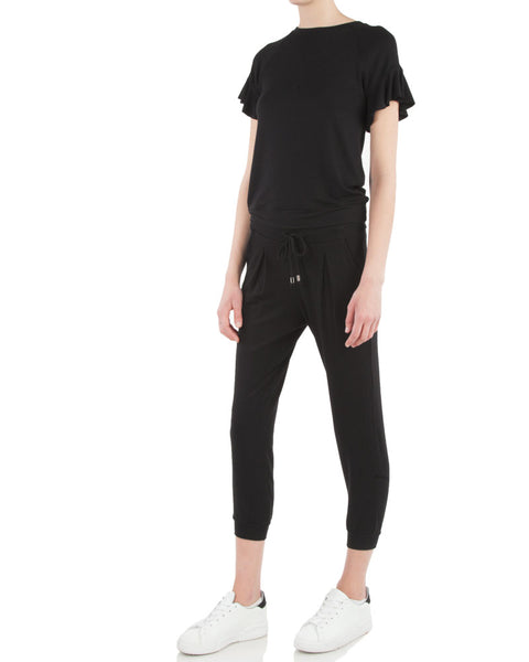 Flutter Sleeve Tee-Black