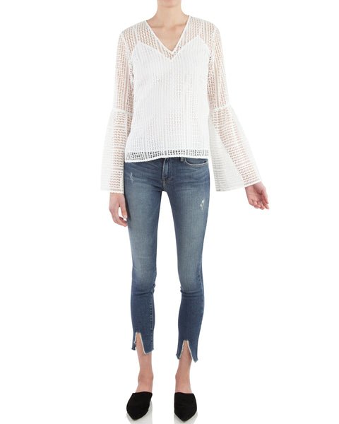 Long Sleeve V Neck Top with Bell Sleeves