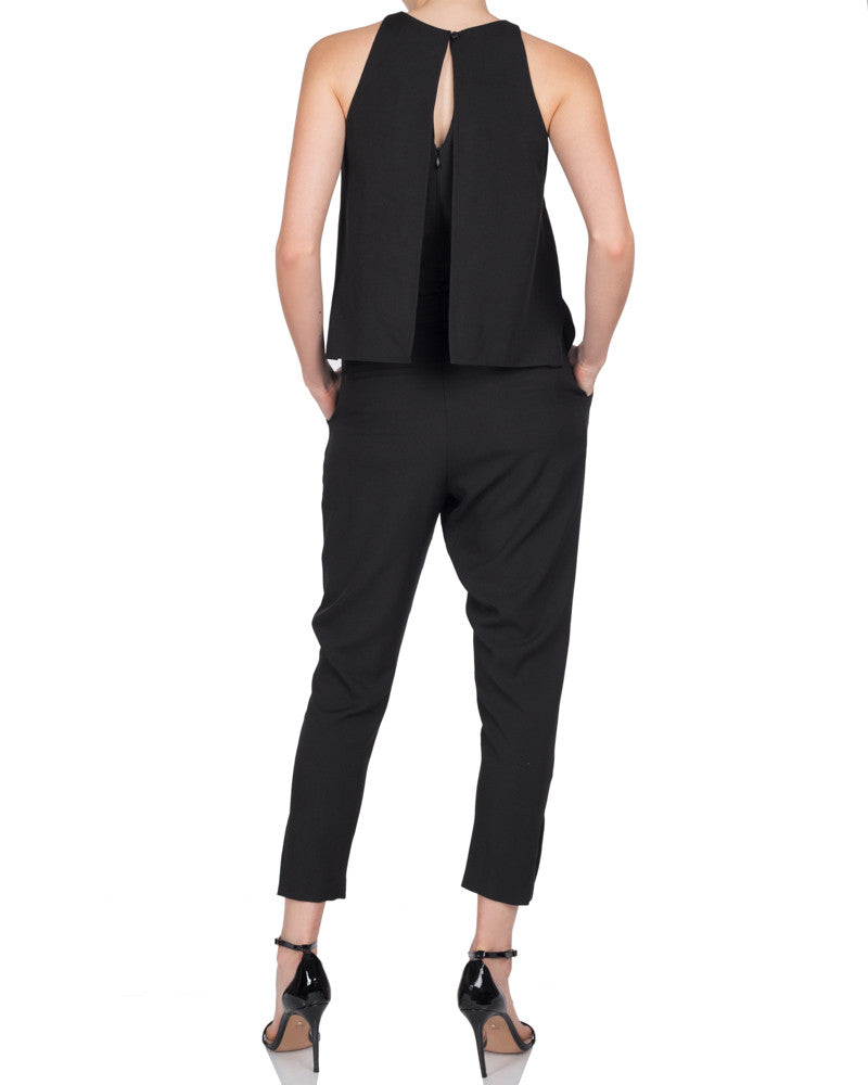 High Neck Flounce Jumpsuit W/Sash