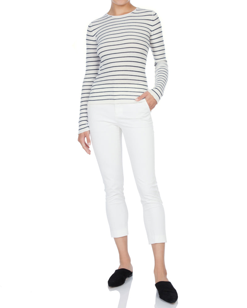Stripe Ribbed Crew