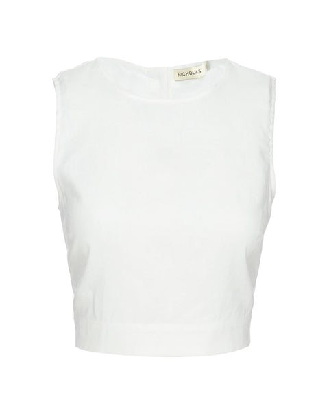 Alyssa Cropped Linen Top