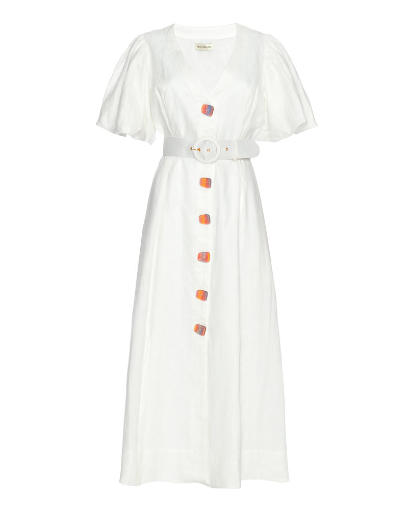 Troy Belted Linen Midi Dress
