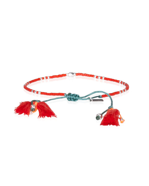 Vermillion Mix Adjustable Tassel Bracelet