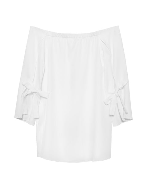 Off Shoulder Boat Neck Top W/Wide Cuff