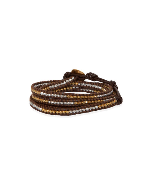 Gold Tone And Sterling Silver Wrap Bracelet