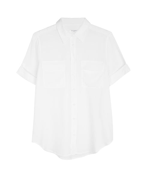 Slim Signature Short Sleeve Silk Shirt in White