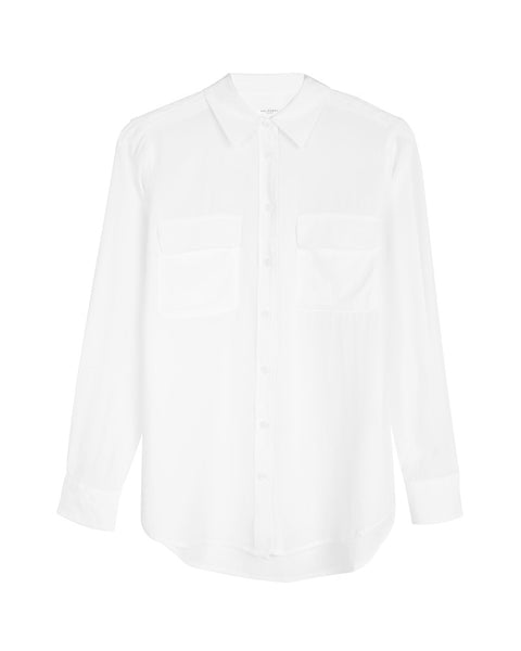 Slim Signature Silk Shirt in Bright White