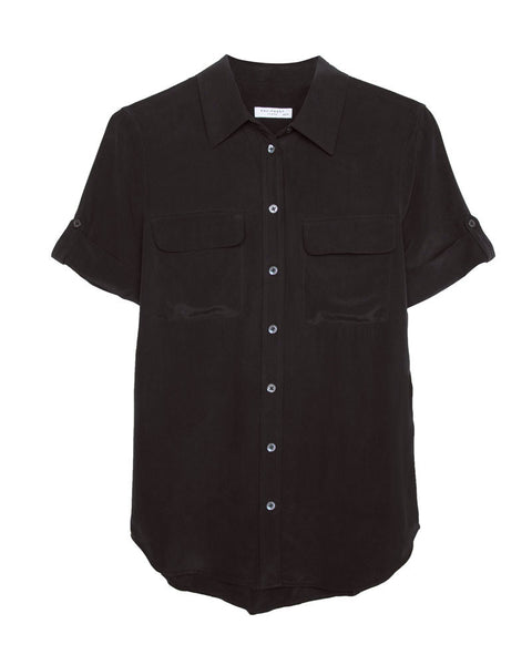 Slim Signature Short Sleeve Silk Shirt in Black