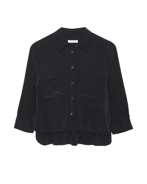 Signature Cropped 3/4 Sleeve Silk Shirt