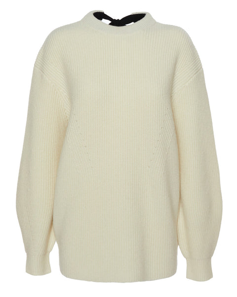 Wool Cashmere Knit Top with Tie Back