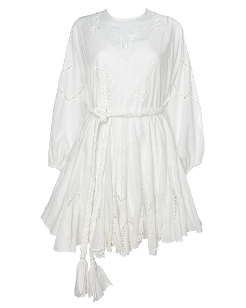 Ella Dress in Ivory with Embroidery