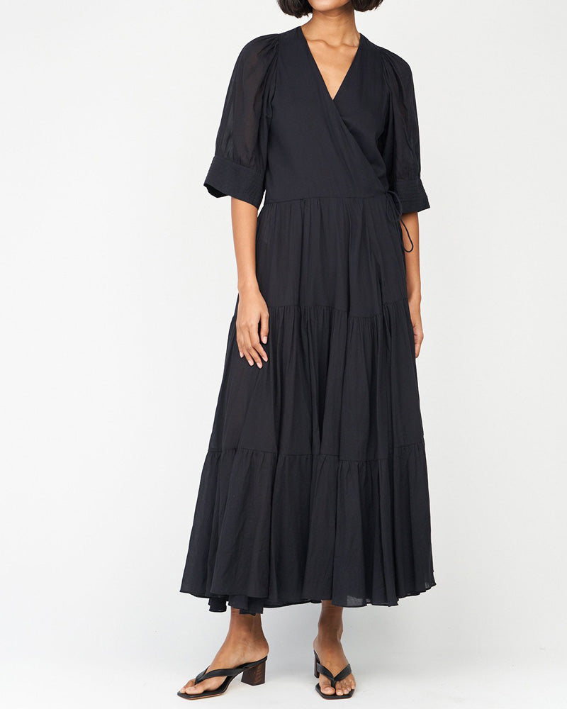 Gina Tiered Short Sleeve Wrap Dress