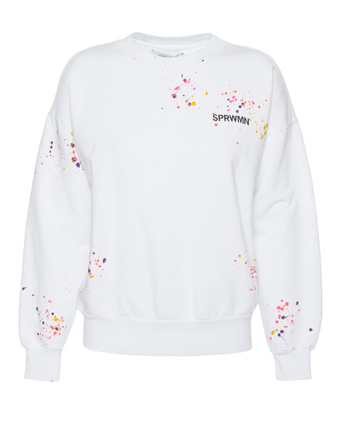 Crewneck Sweatshirt in White Paint Splatter