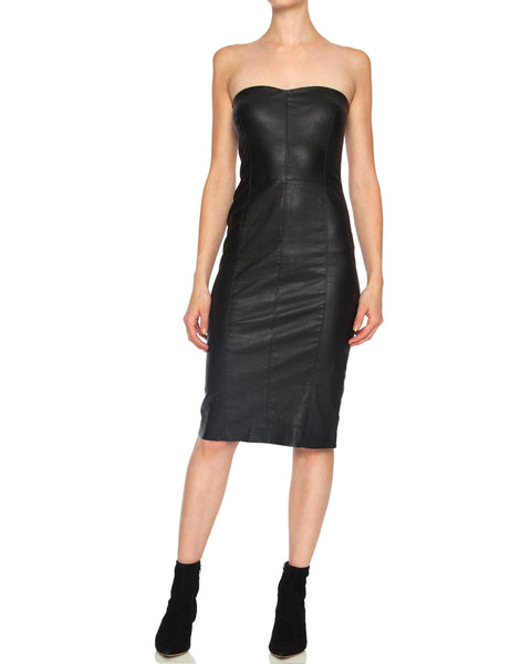 Strapless Leather Midi Dress with Back Zip