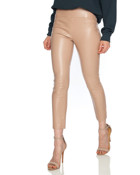 Tan High Waisted Capri Leather Legging