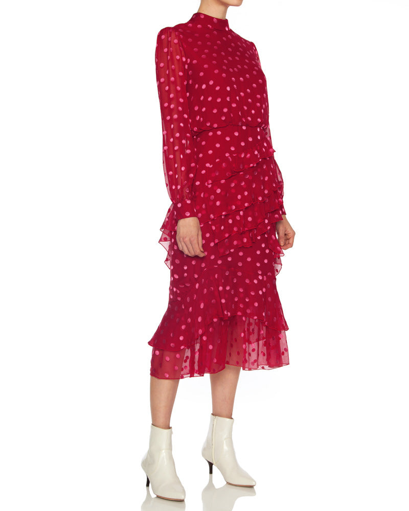 Isa Ruffle Polka Dot Dress