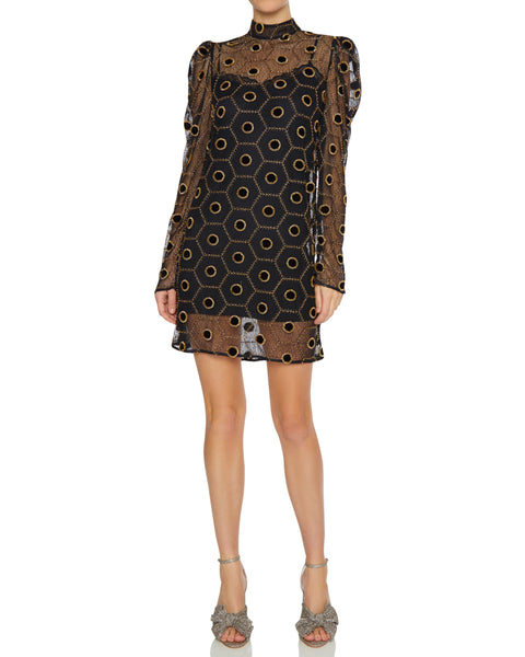 Lace Beaded Mini Dress