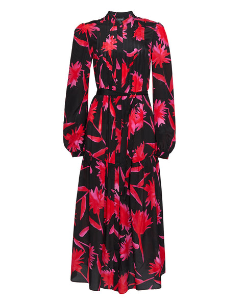 Remi Floral Print Silk Crepe De Chine Midi Dress