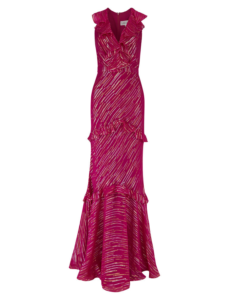 Rita Metallic Lines Maxi Dress