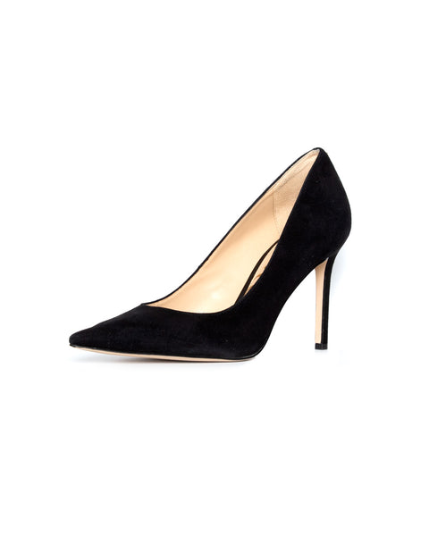 Hazel Pointed Toe Heel in Black Suede