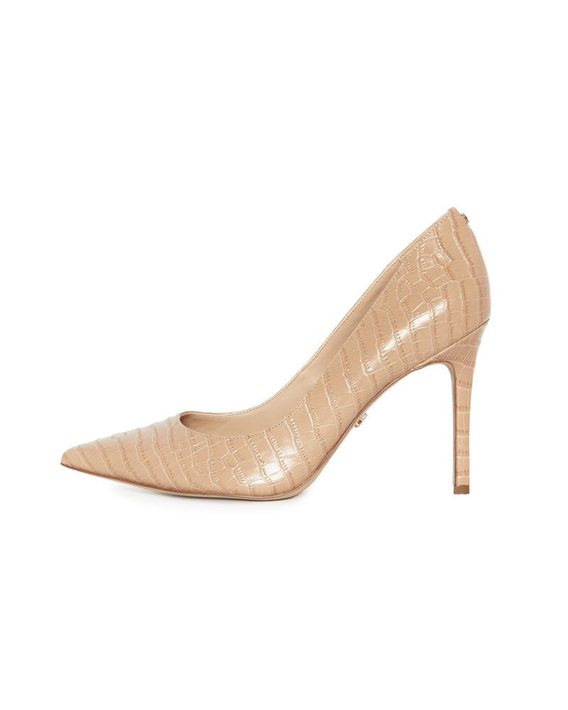 Hazel Pointed Toe Heel in Toasted Almond Croc