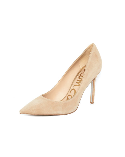 Hazel Pointed Toe Heel in Oatmeal Suede