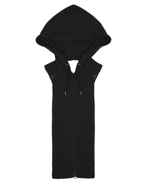 Cashmere Hoodie Dickey in Black