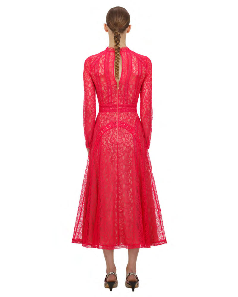 Hot Pink Lace Panel Midi Dress