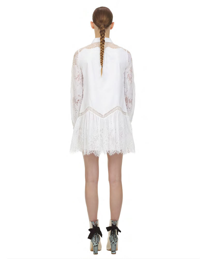 Lace Panel Shirt Dress- EXTRA 10% OFF AT CHECKOUT
